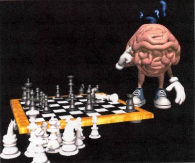 Brain playing chess, thinking!