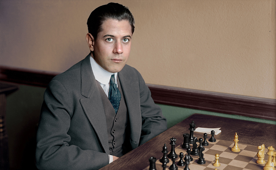 Capablanca at the chess board.