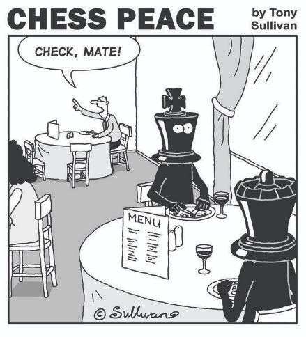"""Diner ask for bill, """"Check, mate!"""""""